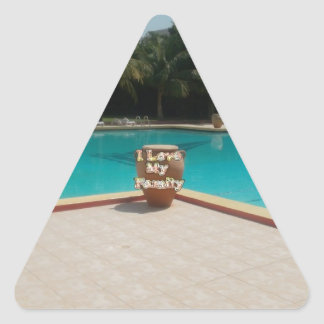 Cool Hakuna Matata Pool Side I love My Family.jpg Triangle Sticker