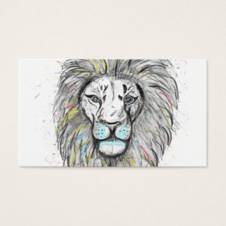 Cool hand drawn sketch and watercolor Lion design Business Card