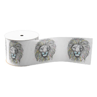 Cool hand drawn sketch and watercolor Lion design Grosgrain Ribbon