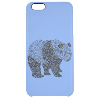 Cool Hand Illustrated Artsy Floral Panda Bear Clear iPhone 6 Plus Case