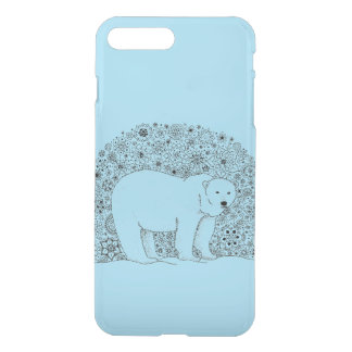 Cool Hand Illustrated Artsy Floral Polar Bear iPhone 7 Plus Case