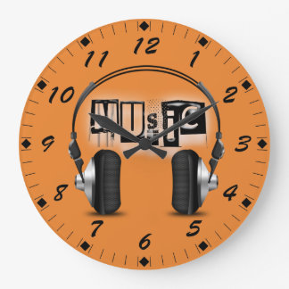 Cool Headphones with the word Music Large Clock