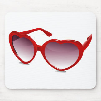 Cool heart shaped sunglasses design mouse pad