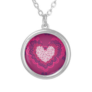 Cool Hearts Circle Pattern Hot Pink Purple Custom Necklace