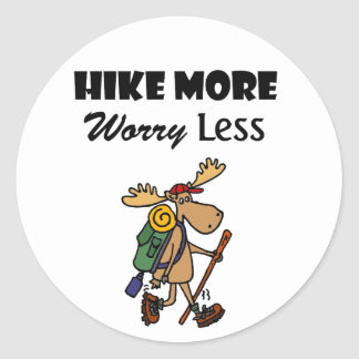 Cool Hike More Worry Less Moose Hiking Cartoon Classic Round Sticker
