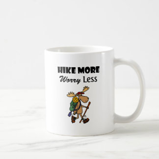 Cool Hike More Worry Less Moose Hiking Cartoon Coffee Mug
