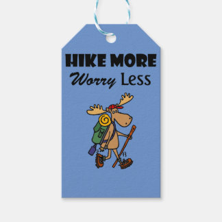 Cool Hike More Worry Less Moose Hiking Cartoon Gift Tags