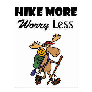 Cool Hike More Worry Less Moose Hiking Cartoon Postcard
