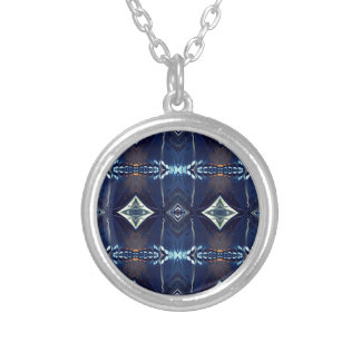 Cool Hip Trendy Blue Tribal Pattern Silver Plated Necklace
