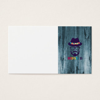 cool hipster cool hat glasses beard blue wood business card