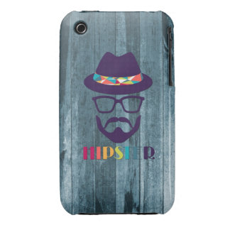 cool hipster cool hat glasses beard blue wood iPhone 3 Case-Mate cases