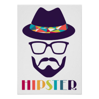 cool hipster cool hat glasses fun beard poster