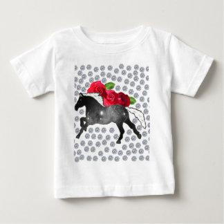 Cool Hipster Diamonds Roses Horse Nebula Galaxy Baby T-Shirt
