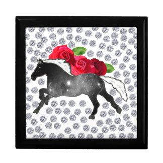 Cool Hipster Diamonds Roses Horse Nebula Galaxy Large Square Gift Box