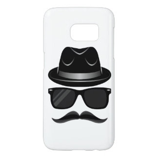 Cool Hipster with mustache, hat and sunglasses