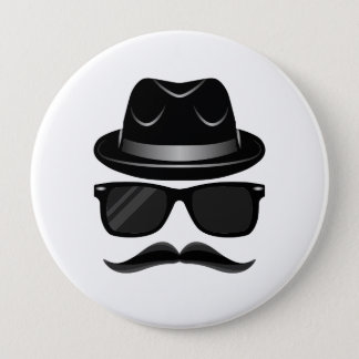 Cool Hipster with mustache, hat and sunglasses 10 Cm Round Badge