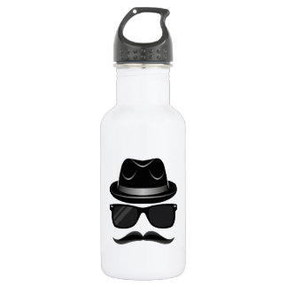 Cool Hipster with mustache, hat and sunglasses 532 Ml Water Bottle