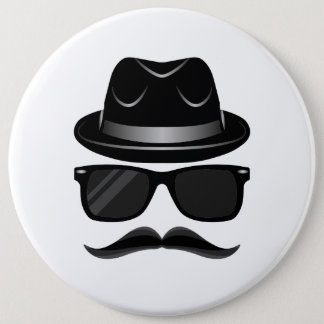 Cool Hipster with mustache, hat and sunglasses 6 Cm Round Badge