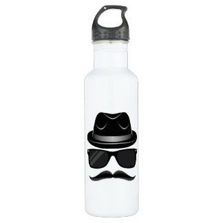 Cool Hipster with mustache, hat and sunglasses 710 Ml Water Bottle