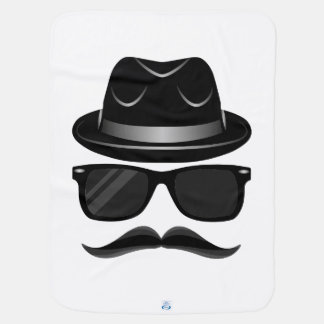 Cool Hipster with mustache, hat and sunglasses Baby Blanket