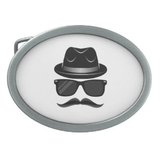 Cool Hipster with mustache, hat and sunglasses Belt Buckles