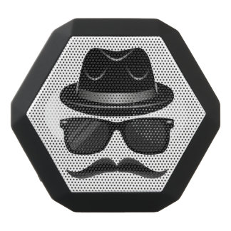 Cool Hipster with mustache, hat and sunglasses Black Bluetooth Speaker