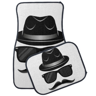 Cool Hipster with mustache, hat and sunglasses Car Mat