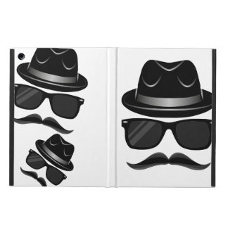 Cool Hipster with mustache, hat and sunglasses Case For iPad Air