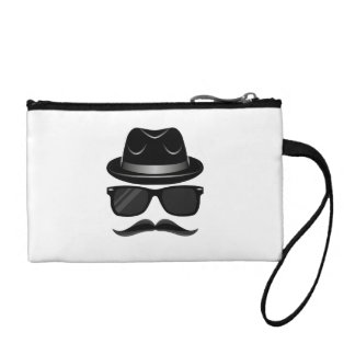 Cool Hipster with mustache, hat and sunglasses Coin Purse