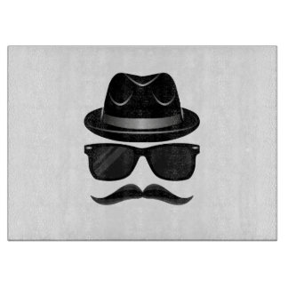 Cool Hipster with mustache, hat and sunglasses Cutting Board