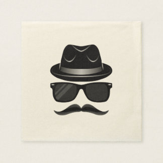 Cool Hipster with mustache, hat and sunglasses Disposable Napkins