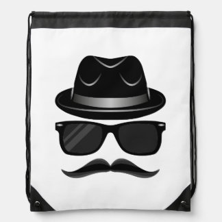 Cool Hipster with mustache, hat and sunglasses Drawstring Bag