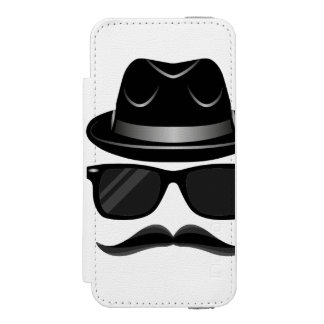 Cool Hipster with mustache, hat and sunglasses Incipio Watson™ iPhone 5 Wallet Case