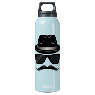 Cool Hipster with mustache, hat and sunglasses Insulated Water Bottle