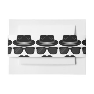 Cool Hipster with mustache, hat and sunglasses Invitation Belly Band