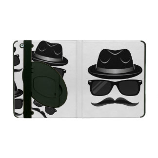Cool Hipster with mustache, hat and sunglasses iPad Folio Case