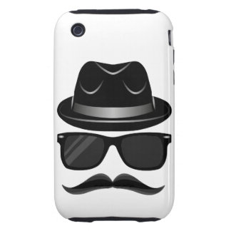 Cool Hipster with mustache, hat and sunglasses iPhone 3 Tough Cases