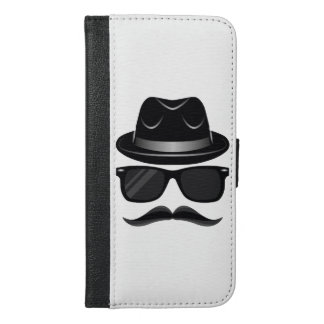 Cool Hipster with mustache, hat and sunglasses iPhone 6/6s Plus Wallet Case