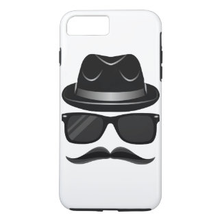 Cool Hipster with mustache, hat and sunglasses iPhone 7 Plus Case