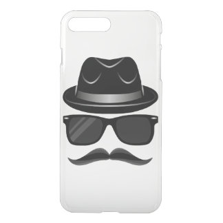 Cool Hipster with mustache, hat and sunglasses iPhone 8 Plus/7 Plus Case