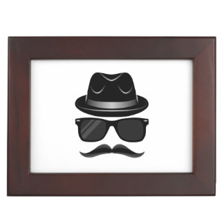Cool Hipster with mustache, hat and sunglasses Keepsake Box