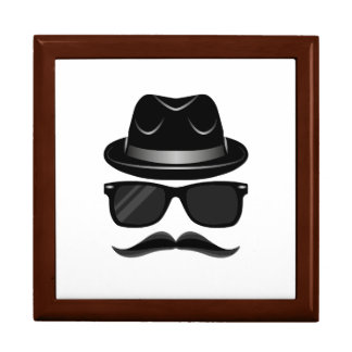 Cool Hipster with mustache, hat and sunglasses Large Square Gift Box