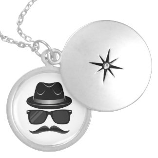 Cool Hipster with mustache, hat and sunglasses Locket Necklace
