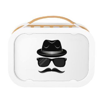 Cool Hipster with mustache, hat and sunglasses Lunch Box