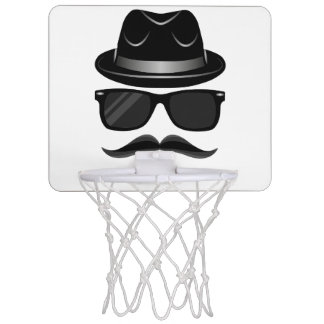 Cool Hipster with mustache, hat and sunglasses Mini Basketball Hoop
