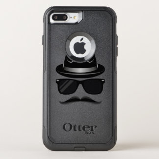 Cool Hipster with mustache, hat and sunglasses OtterBox Commuter iPhone 8 Plus/7 Plus Case