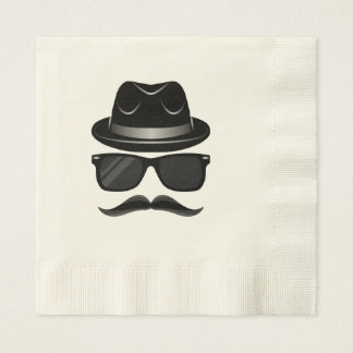 Cool Hipster with mustache, hat and sunglasses Paper Serviettes