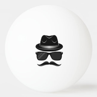 Cool Hipster with mustache, hat and sunglasses Ping Pong Ball