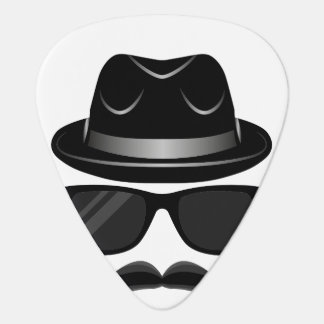 Cool Hipster with mustache, hat and sunglasses Plectrum