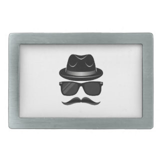 Cool Hipster with mustache, hat and sunglasses Rectangular Belt Buckle